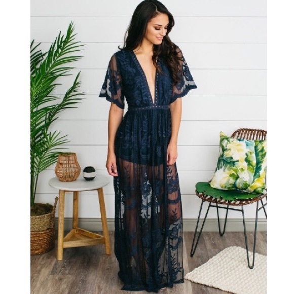 837024bf704 🆕Honey Punch Navy Lace Overlay Romper Maxi Dress